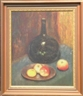 Abbott Handerson Thayer, Still life with fruit and glass bottle
