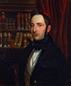 Continental School, 19th Century, Portrait of a gentleman in a library interior