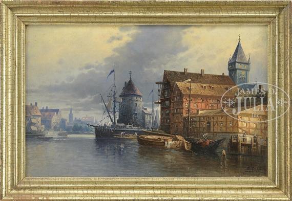 Karl Kaufmann A View In Haarlem Netherlands Oil