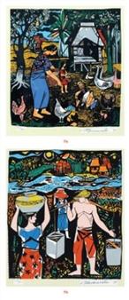 2 Works: Feeding; Vendors By Vicente Manansala ,1971