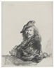 Rembrandt, SELF-PORTRAIT LEANING ON A STONE SILL (B., HOLL. 21; NEW HOLL. 171; H. 168)