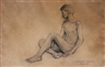 Claudio Bravo, Nude Sketch of a Young Boy Sitting