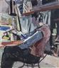 Max Gubler, Sitzender Maler vor der Staffelei, 1939