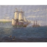 Michael J. Whitehand, Naval sailing ships at anchor by a coast