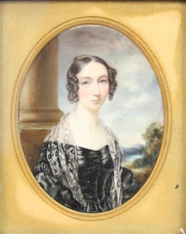 A Pair: Oval Miniature Portrait of Mrs S. Rowe, née Eliza J. Bennett & Oval Miniature Portrait of Skinner Rowe By Cornelius Beavis Durham ,1838