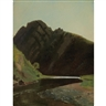 James McDougal Hart, Mountains/Edge of the Lake (Oil Sketch)