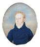 Moritz M. Daffinger, A portrait of a gentleman with red hair and in a blue jacket