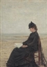 Félicien Rops, Young woman, seated at the beach