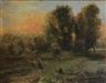 Continental School, 19th Century, Figures in Landscape