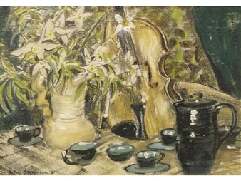 Still life with violin By Patric Stevenson ,1951