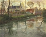 Frits Thaulow, A River Landscape with a Church Beyond