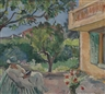 Henri Lebasque, Le Cannet, jeune femme lisant dans un jardin