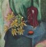 Max Pechstein, Gelbe tulpen mit holzkopf