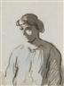Honoré Daumier, Une femme à mi-corps, tournée vers la gauche
