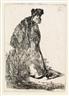 Rembrandt van Rijn, Man in Coat and Fur Cap Leaning against a Bank