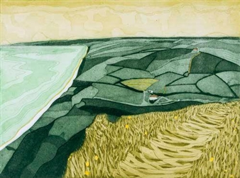 Bay (River Alwen; West Bay; Manorbier Beach  Castle; A Suffolk Farm) By John Brunsdon