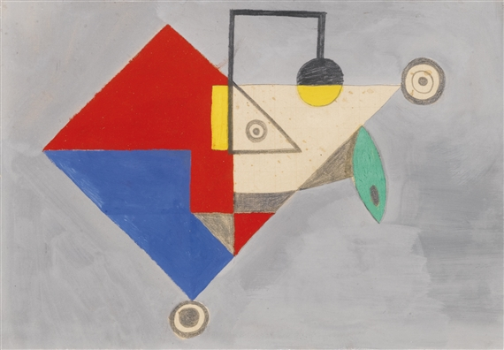 Nicholson Ben Study For Geometric Lamplight Pencil Study For Geometric Lamplight Circa 1933