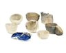 Barry Flanagan, A collection of five squeeze, pinch and thumb pots, two spiral bowls and a blue finger piece