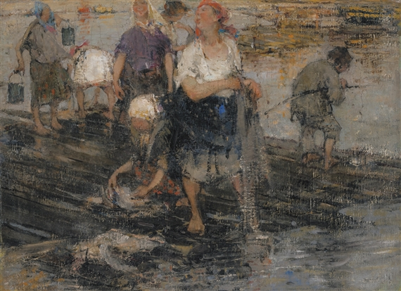 Nicolai fechin the laundresses oil on canvas for Nicolai fechin paintings for sale