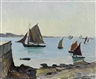 Millard Sheets, Sailboats on an estuary