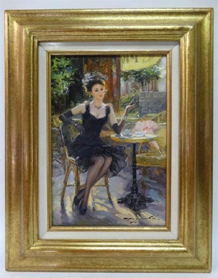 Konstantin Razumov Caf 233 Montmartre Oil On Canvas