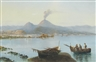 Augusto Corelli, A view of Naples with Vesuvius erupting in the distance