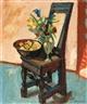 Max Gubler, Stuhl mit Blumen in Glasvase und Früchteschale