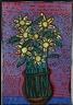 Robert Combas, Pot a Fleurs Avec Fleurs Aussi Dans Grand Vase Décoré en Mur Élaboré De Graphismes Bleus au Trait Sur Paysage Rayé Rouge de Soleil Couché