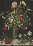 """A STILL LIFE OF FLOWERS, INCLUDING IRISES, NARCISSI, LILY-OF-THE-VALLEY AND CARNATIONS, IN A TALL GLASS VASE SET ON A STONE LEDGE - <span class=""""LotsTablePresentationLink""""><a href=""""http://www.mutualart.com/Organization/Sotheby-s-London/DEC479F58FEB7075"""" class=""""bluetext"""">Sotheby's London</a></span>"""