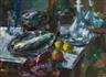 Anton Faistauer, Still life with fish, water bottle an glass