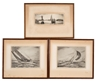 Yngve Edward Soderberg, Three etchings of yacht racing scenes : one of the Bermuda race and two of 12-meter races