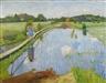 Otto Modersohn, Melkersteg Fischerhude, vor der Wassermühle an der Wümmeschleuse