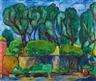 Hans Purrmann, Parkbank im Hof der Villa Le Lagore