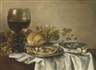 Pieter Claesz, A roemer, a herring and olives on pewter platters, with a roll, a knife, a wine glass and grapes on a partially draped table