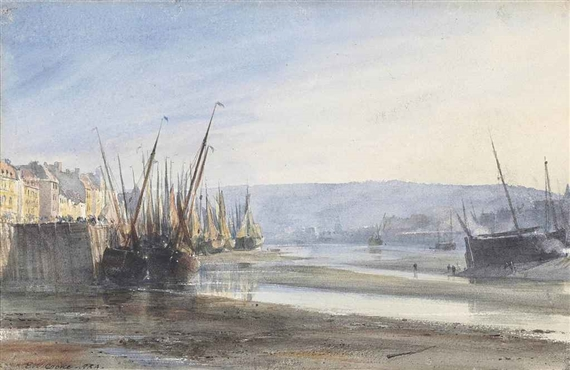 Edward William Cooke, Boats moored at Dieppe Harbour: low tide