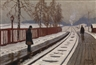 Mikhail Guermacheff, Winter Street Scene and On the Platform, two works