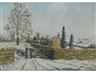 Julian Barrow, Winter landscape with buildngs