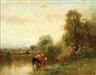 Arthur Parton, Cattle Watering in an Expansive Landscape