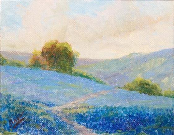 klepper frank field of blue flowers mutualart