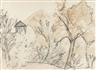 Otto Mueller, Bergige Landschaft mit kleinem Haus