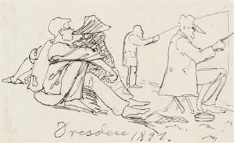 Angler und Zuschauer By Ernst Barlach ,1891
