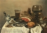 Pieter Claesz, A DELFT JUG, HAM ON A PEWTER PLATE, A GLASS OF WINE, FISH AND A ROLL ON A TABLE COVERED WITH A WHITE CLOTH
