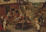 Pieter Brueghel the Younger, Peasants drinking and merrymaking outside and inn