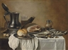 Pieter Claesz, A ham, a roll and a herring on pewter platters, with a pewter jug, glass of beer, a knife and a mustard pot on a partly draped table
