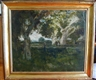 William Keith, verdant landscape with figures; hand-carved original Arts & Crafts frame