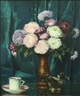 Mae Bennett Brown, Still Life with Mums on a Table with China Cup