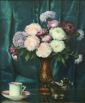 Still Life with Mums on a Table with China Cup By Mae Bennett Brown