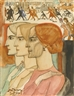 Jan Toorop, THREE WOMEN IN PROFILE WITH A STREETSCENE IN THE BACKGROUND