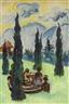 Max Pechstein, RAVELLO PARKANSICHT MIT BRUNNEN (VIEW OF RAVELLO PARK WITH FOUNTAIN)
