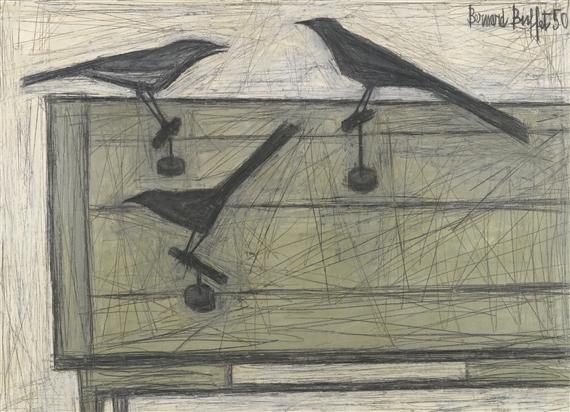 Bernard buffet trois oiseaux sur une table 1950 for Table 52 petroleum